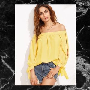 Tops - 🖤YELLOW SPLIT SELF TIE SLIP BARDOT TOP SZ L🖤